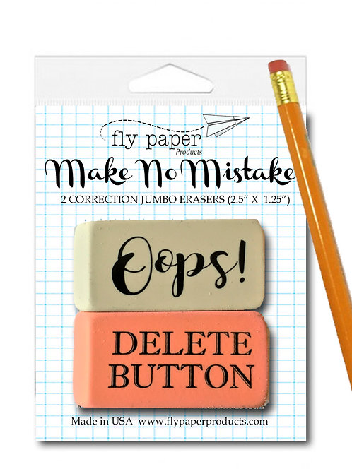 Set of 2 Old School Jumbo Erasers-Oops! and Delete Button