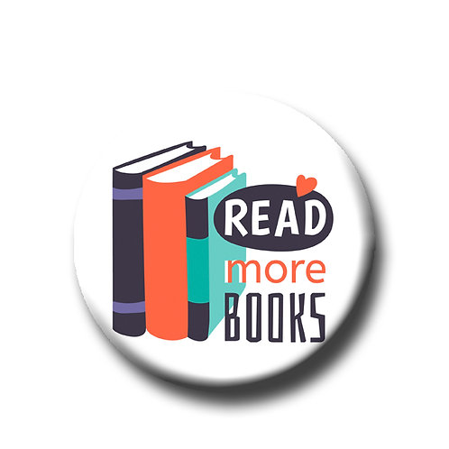 """Read More Books- 1.25"""" Pinback Button"""