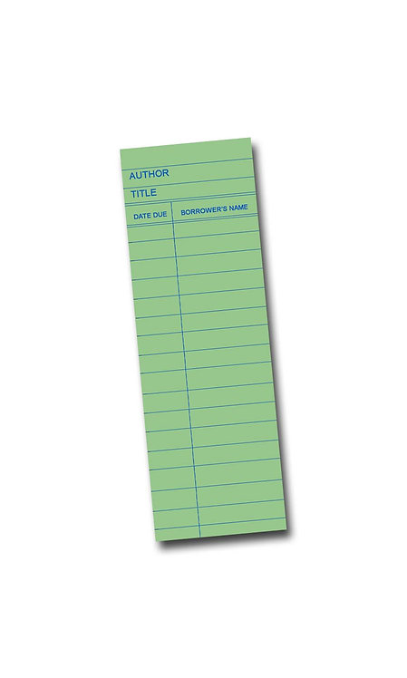 Library Book Card design - Green Maple Wooden Bookmark