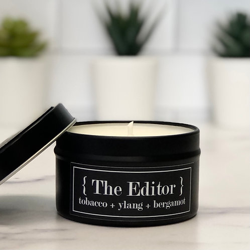 The Editor 6 oz Literary Tin Soy Candle (Qty 2 @ $7.00ea)