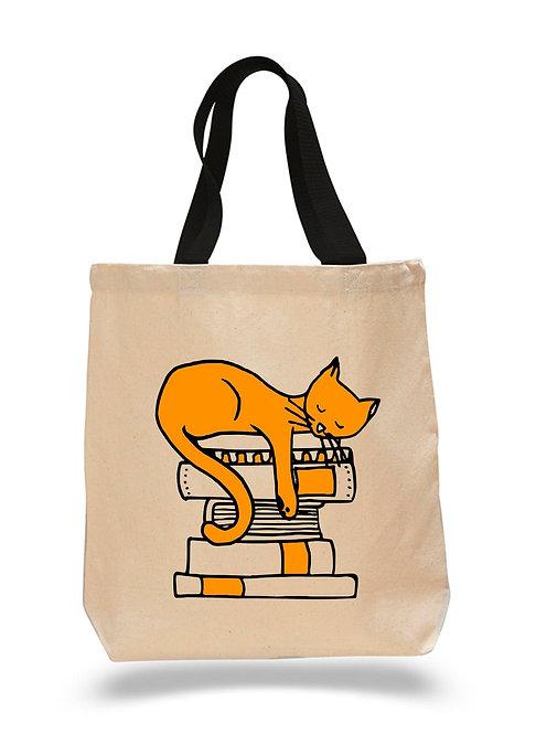 NEW! Sleepy Book Cat Canvas Tote Bag 4 Pack $8.75 each