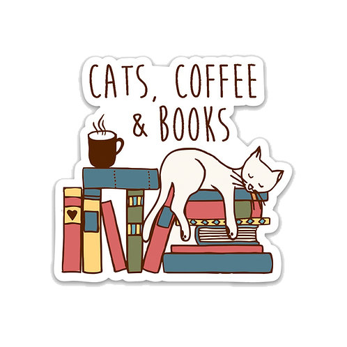 Cats, Coffee and Books-Vinyl Sticker