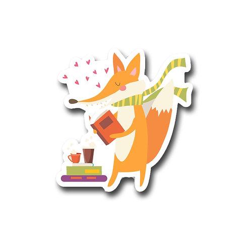 Mr Fox Loves to Read-Vinyl Sticker
