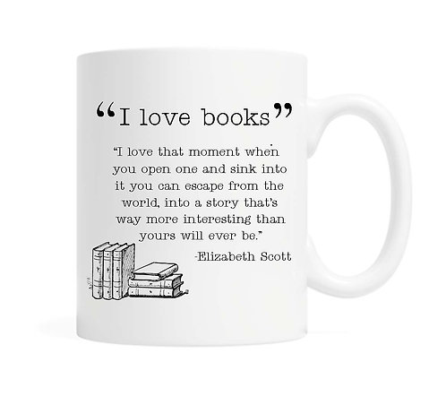 """I love Books""  11 oz Coffee Mug"