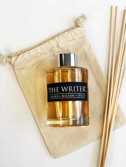 The Writer- 4oz Reed Diffuser- Amber + Balsam + Spices