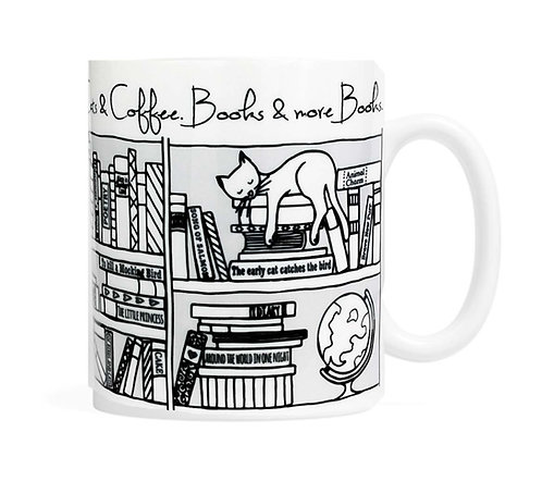 Cats, Coffee & Books & more Books  11 oz Coffee Mug