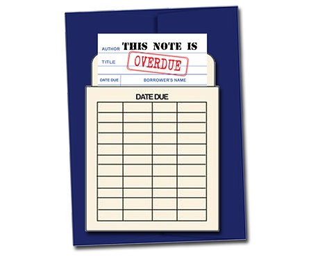 This note is Overdue - Book Pouch Card