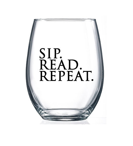 Sip. Read. Repeat. - 15oz Stemless Wine Glass