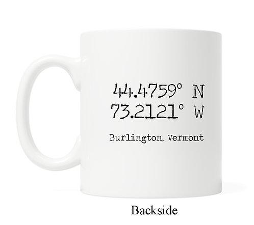 Longitude/Latitude Custom Name Drop- 11oz Coffee Mug
