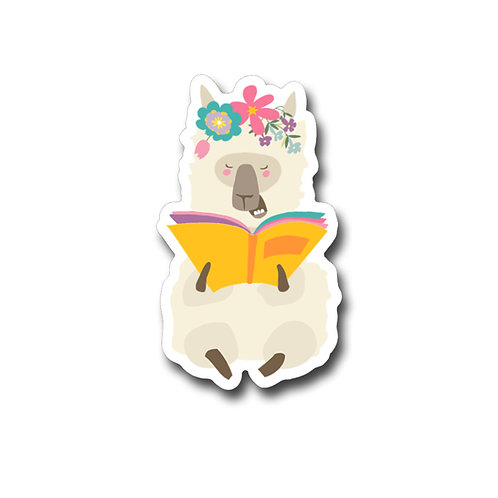 Laughing Llama Reading Vinyl Sticker