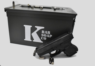 K Bar Soap Co Ammo Can with 9mm