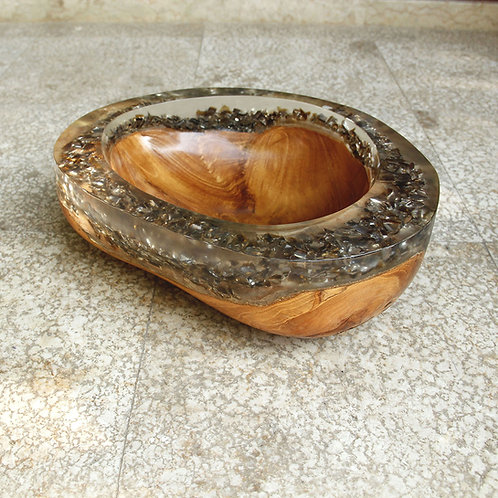 Crystal Clear Resin / Grey Crushed Glass / Live Edge Teak - Bowl