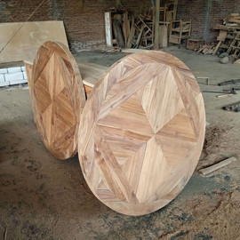 Round Mosaic Recycled Teak Dining Table