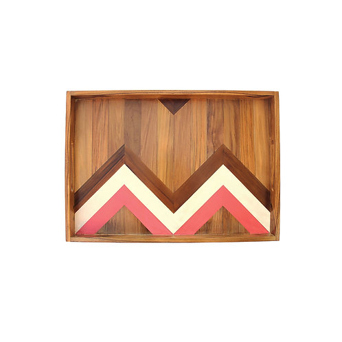 'Rectangled' / Two-Sided Teak Serving Tray