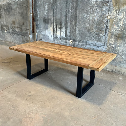 Industrial Chic Dining Table - Thick U Legs / Recycled Teak