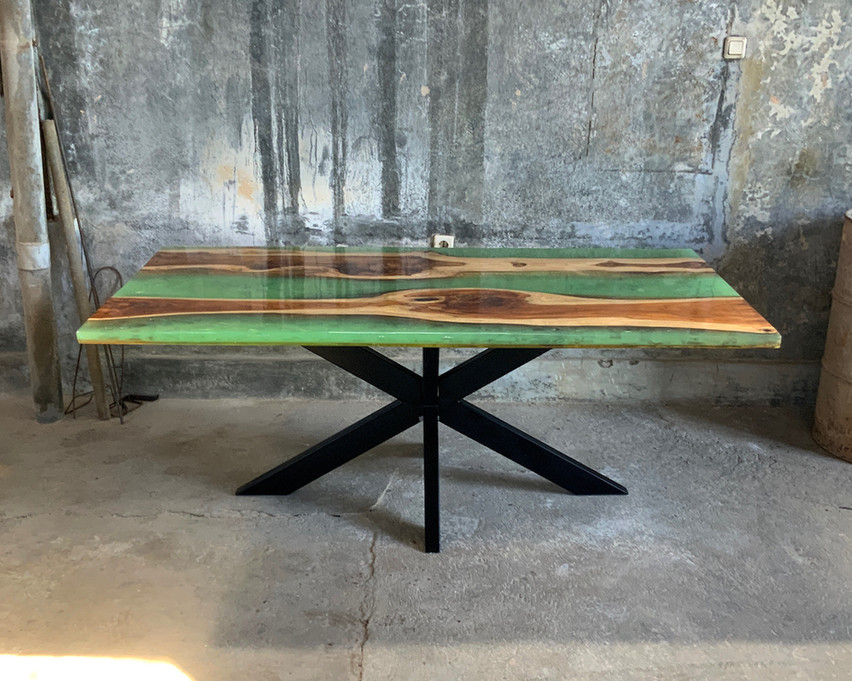 Epoxy resin spider legs dining table