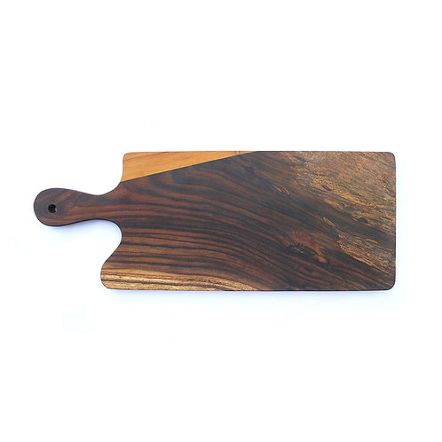 Two Wood Striped Tray - Teak / Rosewood