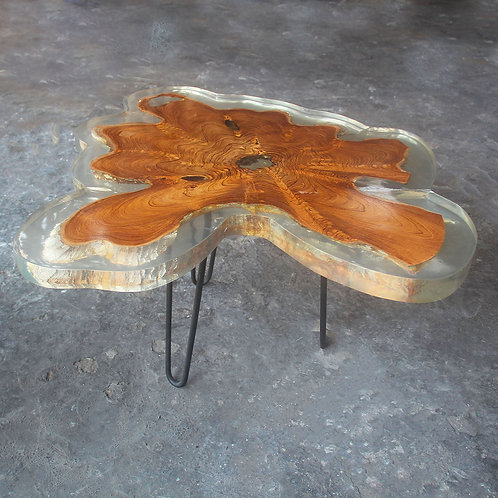 Teak wood transparent  epoxy resin coffee table side view