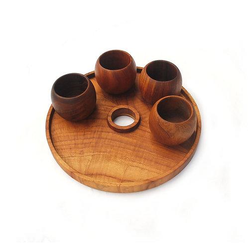Teak Aperitif Set - Tray & Cups