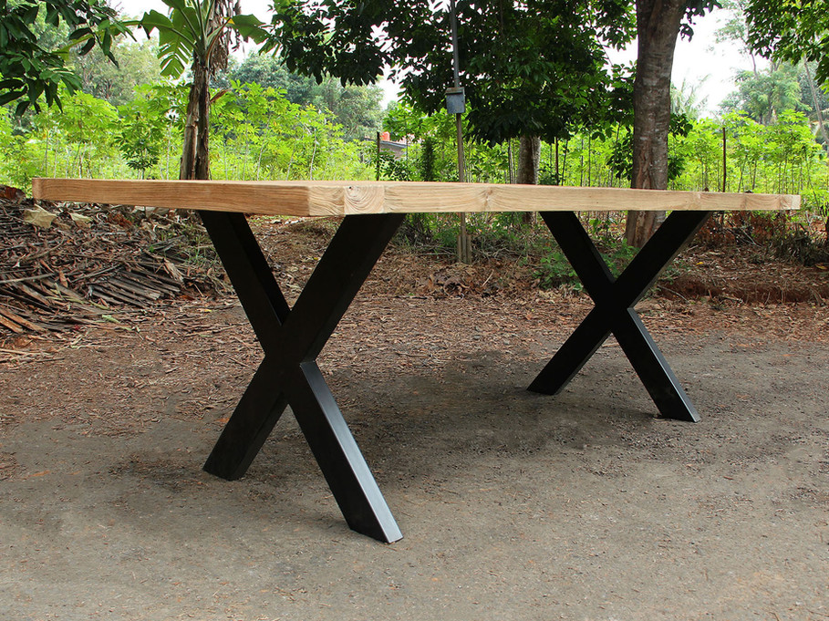 Dining Table - Thin X-Shaped Legs / Recycled Teak