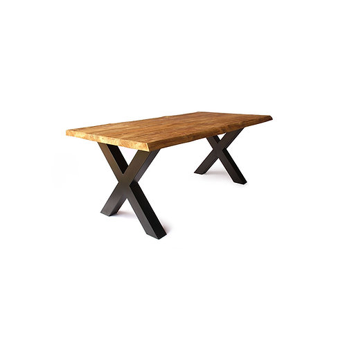 Live Edge Dining Table - X-Shaped Legs / Industrial Chic