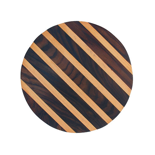 Striped Two-Wood Round Platter - Rosewood / Pine Root