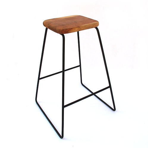 Counter Stool - Square Teak Root - Mid-Century Inspired