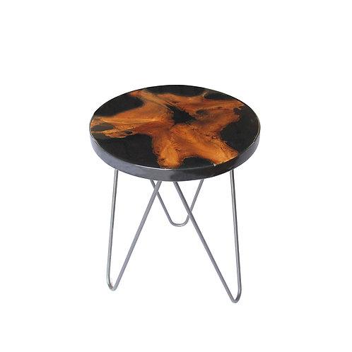 Round Side Table - Live Edge Teak / Black Resin / Iron Legs