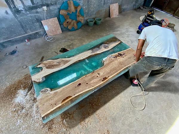 Bali wood and epoxy table top