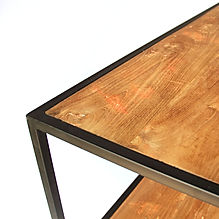 Industrial furntiture with smooth teak finish and black matt iron
