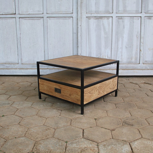 Industrial Chic Square Coffee / Side Table - Recycled Teak / Iron