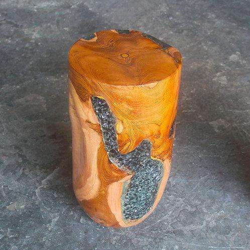 Teak wood blue grey epoxy resin stool side view