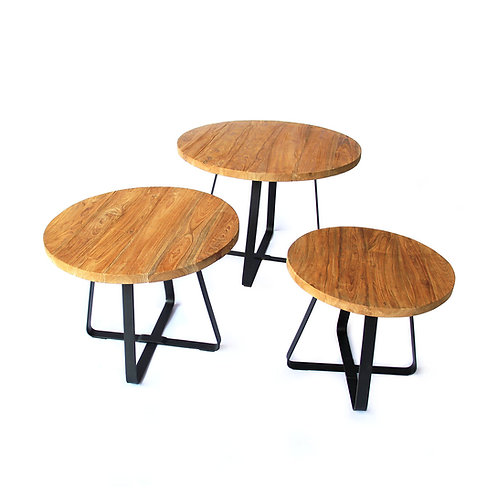 Set of 3 Round Tables - Industrial Chic / Recycled Teak