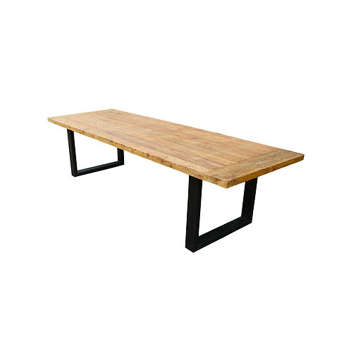 Dining Table - Thick U-Shaped Legs / Recycled teak