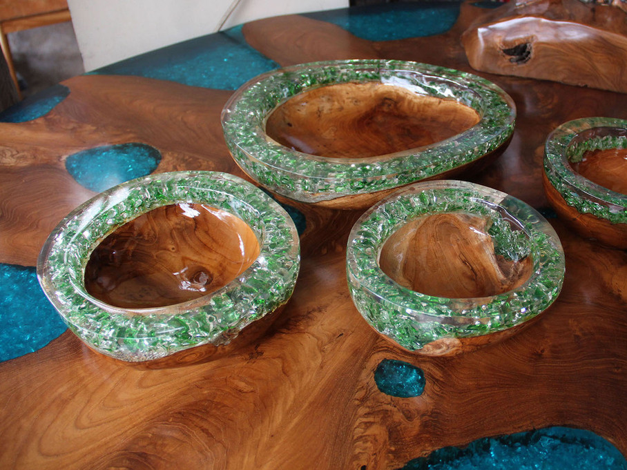 Teak and green epoxy resin bowl
