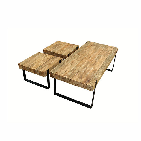 Coffee Table and Stool Set - Recycled Teak