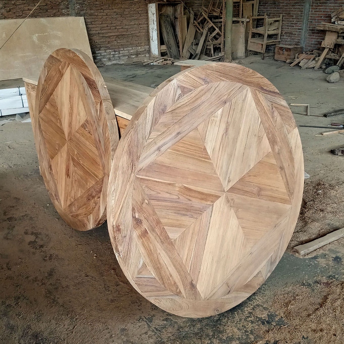 Recycled Teak Mosaic Round Tabletop