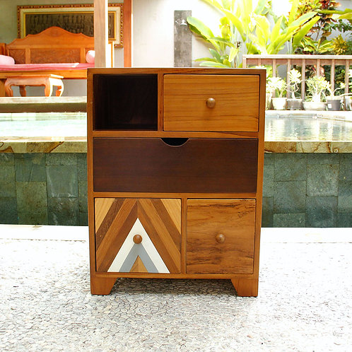 Inline - Teak Bedside Table