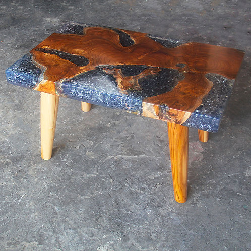 Teak wood blue grey epoxy resin table side view