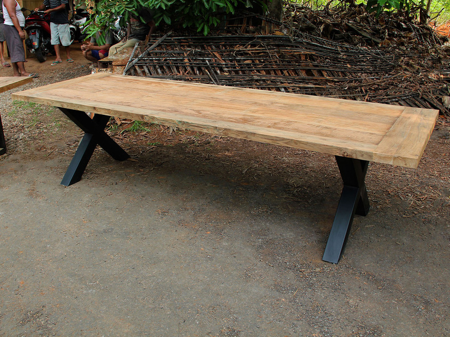 Dining Table - Thick X-Shaped Legs / Recycled Teak