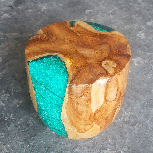 Teak wood turquoise epoxy resin stool side view