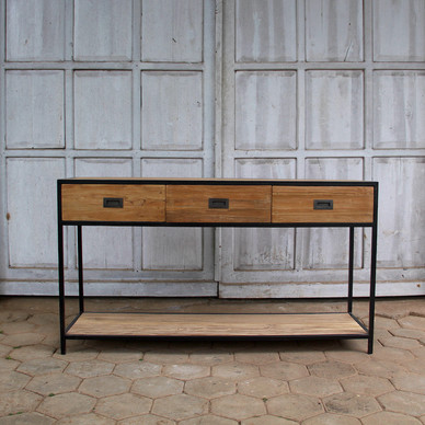 industrial recycled teak console table