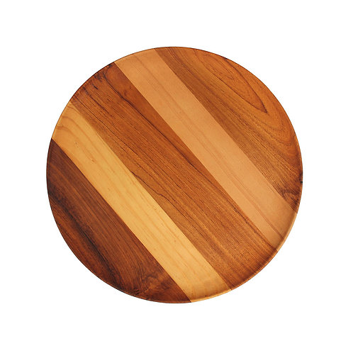 Striped Two-Wood Round Plate - Teak / Pine Root