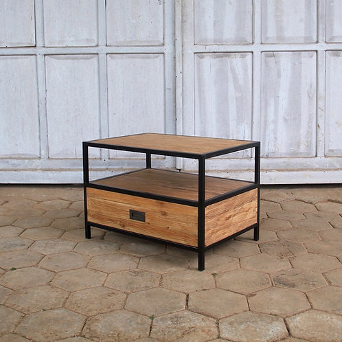 Industrial Chic Rectangle Coffee / Side Table - Recycled Teak / Iron