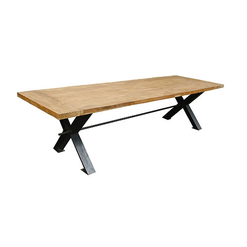 Dining Table - X-Shaped Legs with Strut / Recycled Teak