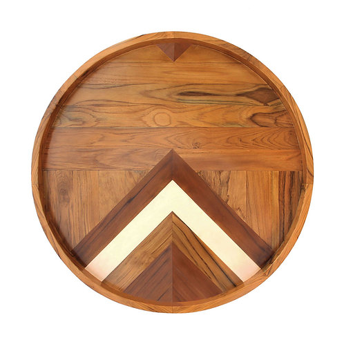 'Circled' / Two-Sided Teak Serving Tray