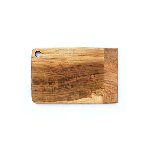 Two Wood Striped Tray - Teak / Suar