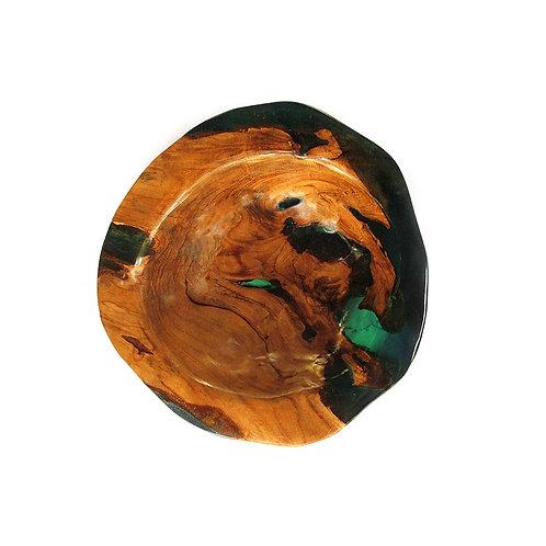 Clear Green Resin / Live Edge Teak - Bowl