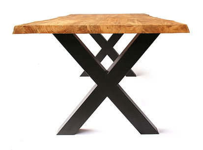 industrial teak and iron dining table