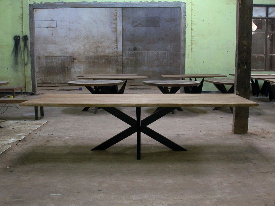 spider iron legs and recycled teak dinning table